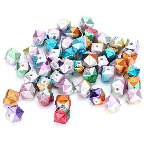 Liyeehao Cuentas Sueltas en Forma de Cubo de plástico, Cuentas en Forma de Cubo de 500 g para Pulseras para Cintas para el Cabello