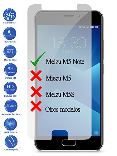 Todotumovil Protector de Pantalla Meizu M5 Note de Cristal Templado Vidrio 9H...