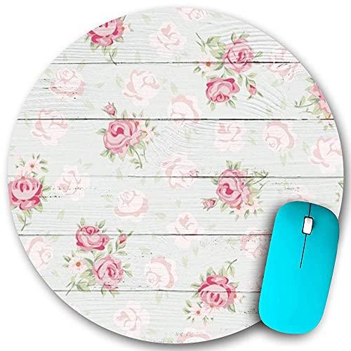 Alfombrilla de ratón redonda de goma antideslizante, floral Shabby Chic Flores en rayas de nostalgia Suelo de madera Feliz día de la madre, resistente al agua Alfombrilla de ratón duradera Escritorios