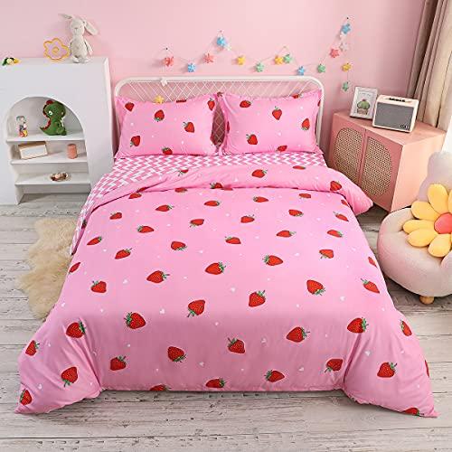 Bettbezug-Set mit Erdbeer-Motiv, Doppelbettgröße, bedruckt, Bettbezug für Kinder, Teenager, Mädchen, Bettdeckenbezug, Obst-Design, niedlich, warm, süß, Bettbezug, weich, atmungsaktiv, Tagesdecke