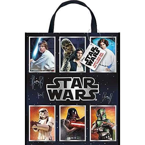 "Unique- Large Plastic Tote Bag-13"" x 11""   Star Wars   1 Pc. Stars Bolsa de fiesta. (79292)"