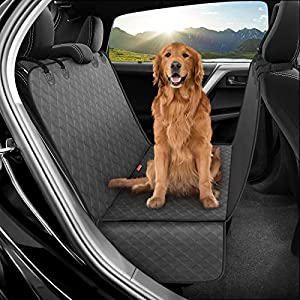 PHYOPUS Dog Seat Cover for Back Seat, 100% Waterproof Dog Car Seat Covers, Scratch Prevent Antinslip Dog Car Hammock, Dog Backseat Cover for Cars & SUVs (Pet Seat Belt Included)