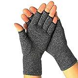 Guanti da artrite, guanti a compressione senza dita, per digitare computer, guanti traspiranti per donne e uomini Grigio 90