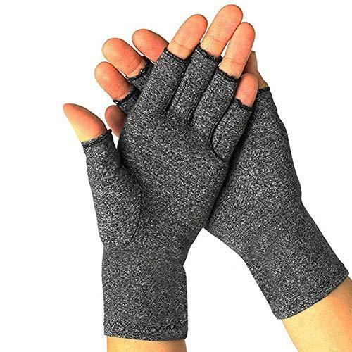 Arthritis-Handschuhe, Kompressionshandschuhe, fingerlos, zum Tippen am Computer, atmungsaktive Handschuhe für Damen und Herren Gr. 85, grau