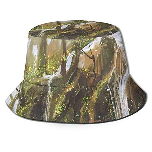 Cappello da pesca a tesa larga, con flusso a cascata che scorre nel torrente in modo realistico con vernice paradiso segreto