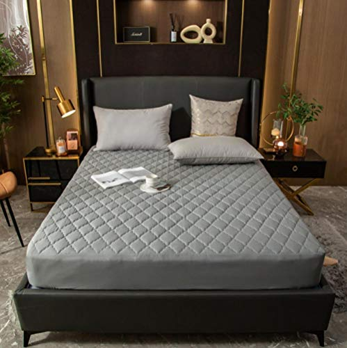 GSYHZL super king size sheet,Quilted thick king waterproof non-slip fitted sheet, urine-proof breathable protection mattress dust cover-gray_200cmx220cm+30cm