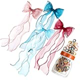OWPFJG 4pcs Lace Hairpins Bow Hair Band ,Sweet Hairdressing Ribbon Butterfly Hair Bow Clips Combination ,Korean Braided Princess Hair Accessories Kid Hair Accessories(+ 100pcs Hair Ties)