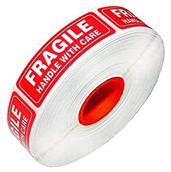 Red Fragile Warning Stickers for Safe Shipping Packing of Goods with Clear Large Font Text and Strong Adhesive Backside | 1 Roll 1000 Labels 1 x 3  1000