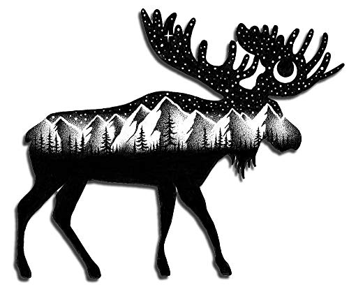Moose Sticker - Dishwasher Safe for HydroFlask Water Bottle Laptop Car Bumper- - Aesthetic Vinyl Art Decal Featuring Mountains Moon Stars Outdoor Wilderness Camping Travel Hiking Snow Woods Animals.