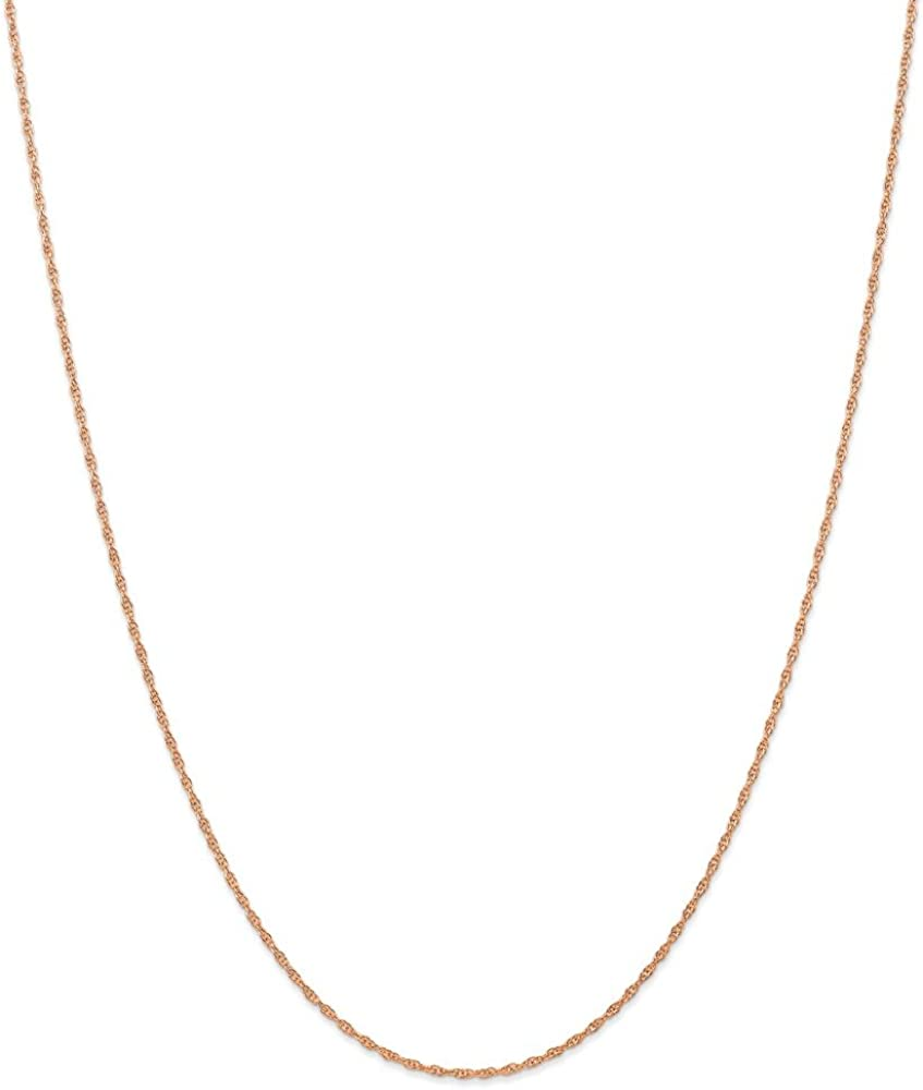 Solid 14k Rose Gold 1.15mm Necklace Year-end annual account Rope Cable trend rank Chain