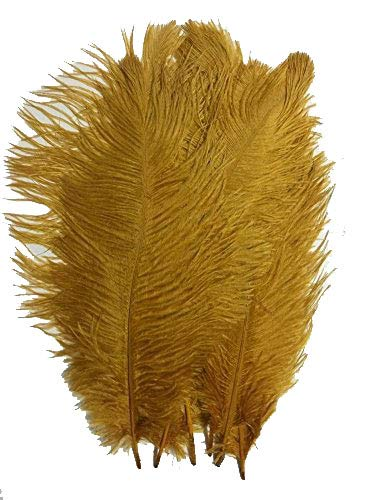MELADY Pack of 50pcs Natural Ostrich Feathers Centerpieces 6-8inch(15-20cm) for Home Wedding Party Decoration (Gold)