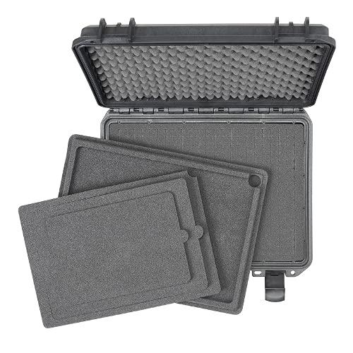 Custodia esterna impermeabile TOMcase per notebook / laptop e accessori; valigia rigida infrangibile con schiuma a cricchetto configurabile (Nero XS)