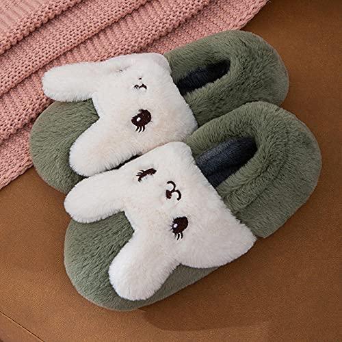 Memory Foam Zapatillas De Casa para Mujer,Nuevos Zapatos De AlgodóN para NiñOs De Conejo, Zapatillas De AlgodóN De Felpa De Moda para Mujer con Zapatillas De Espuma ViscoeláStica, Zapatillas De Felpa