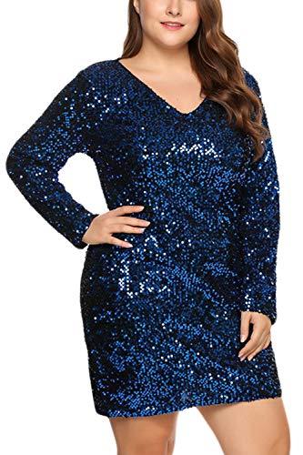 Fasumava Mini Vestidos Bodycon De Lentejuelas Calientes De Invierno De Talla Grande para Mujer Azul 3XL