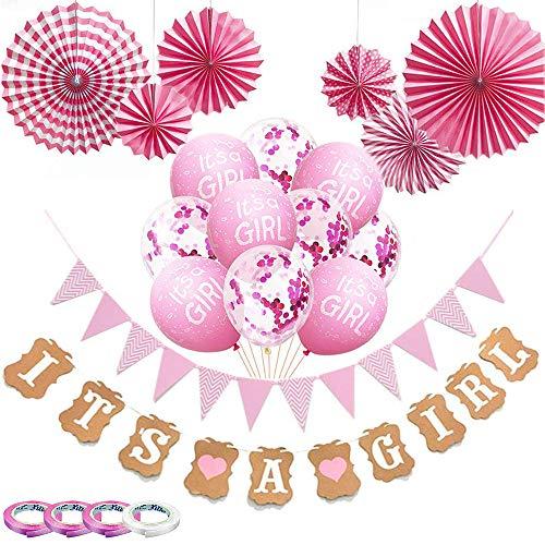 Babyparty Deko Mädchen, 22 Stück Rosa Baby Party Dekoration mit 10 Luftballons/Wimpelkette Wimpel/IT'S A Girl Banner/6 Papierfächer/4 Rollen Band für Baby Shower/Geburtstag Party Dekoration (Rosa)