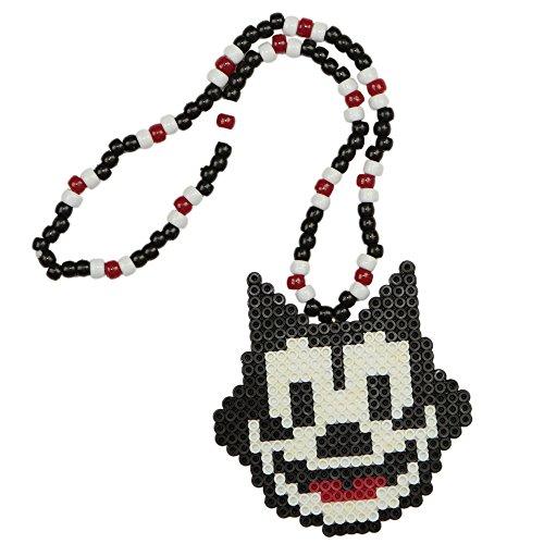 Felix The Cat Kandi Necklace, Perler Necklace, Rave Beaded Necklace