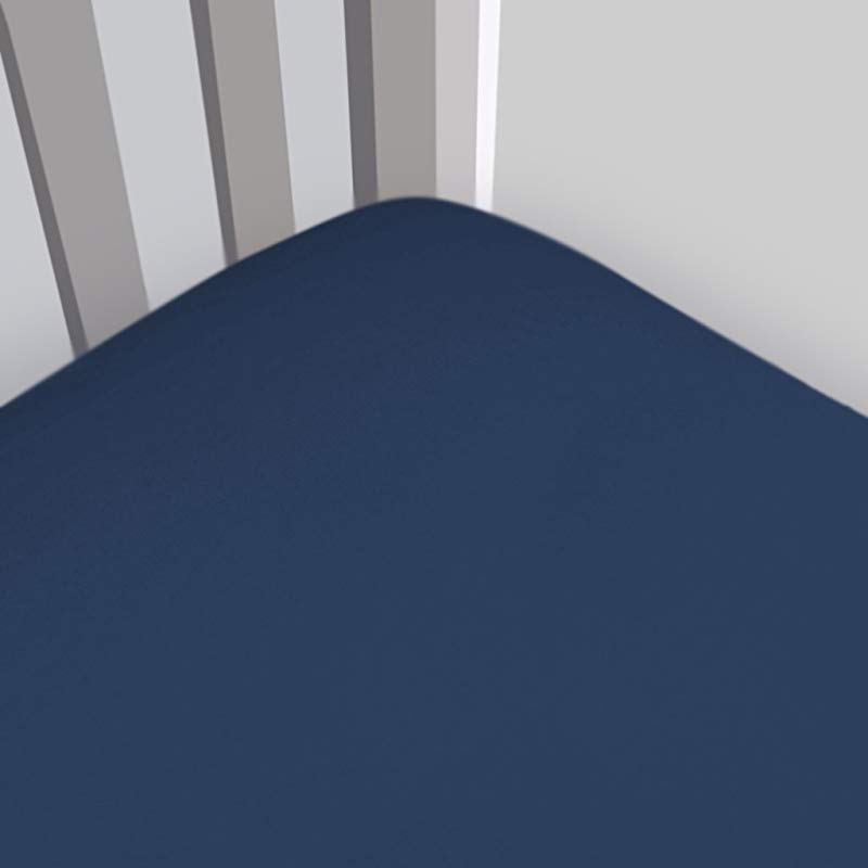 Magnolia Organics Fitted Fleece Crib Sheet Standard Deep Blue