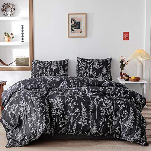 Janzaa Comforter Set Queen Comforter Set,3 PCS Floral Comforter Set Bedding Sets Queen with Comforter Black Comforter Set Soft Microfiber Bedding Set with 2 Pillow Cases