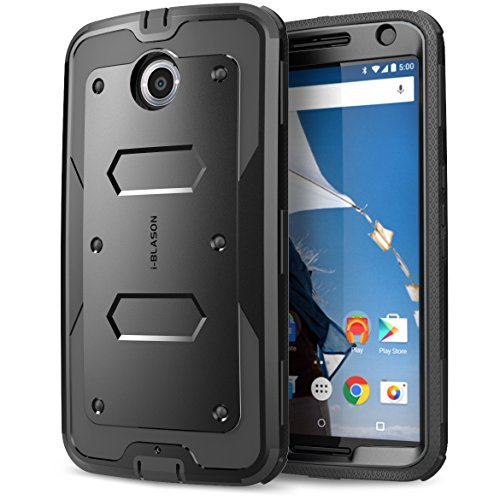 Nexus 6 Case, Heave Duty Slim Protection i-Blason Google Nexus Armorbox Dual Layer Hybrid Full-body Protective Case with Front Cover and Built-in Screen Protector for Motorola Nexus 6 Phone Black