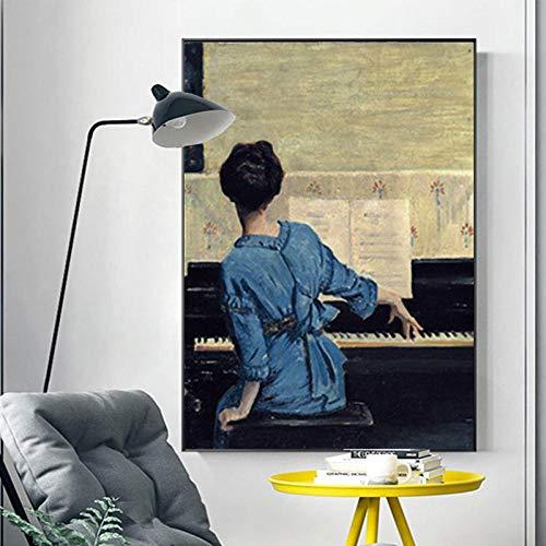 LLXXD Nordic Girl Woman Piano Posters e Impresiones Pintura al óleo sobre Lienzo Imagen de Arte de Pared para Sala de Estar Dormitorio Decoración del hogar 70x90cm (sin Marco)