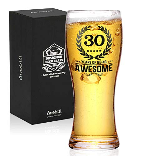 Onebttl 30th Birthday Gifts for Men or Him - 30 Years of Being Awesome - 450ml/15oz Beer Glass - 30...