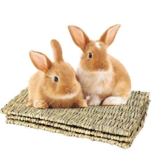 MEWTOGO 3 Pack 15.7 × 11 inches Grass Bunny Mat- Natural Straw Woven Grass Mat Rabbit Bunny Mat...