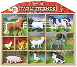 Melissa & Doug Farm Friends Play Set (10 Collectible Farm Animals with Wooden Barn-Shaped Crate, Great Gift for Girls and Boys – Best for 3, 4, 5, 6, 7 and 8 Year Olds)