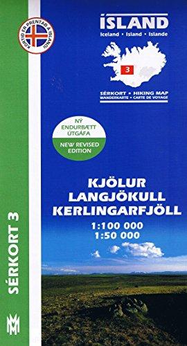 Serkort 3: Kjölur, Langjökull, Kerlingarfjöll - Island Trekkingkarte 1:100.000 mit Detailwanderkarte 1:50.000