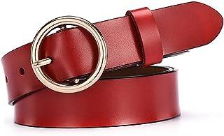 XJJZS Women Cuir Ceinture classique rétro simple ceinture femelle boucle ronde à boucle ronde (Color : Red, Size : 105 cm)