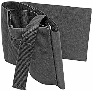 Ultimate Arms Gear Stealth Black Ambidextrous Elastic Wrap Concealed Carry Ankle Lower Leg Open Top with Velcro Secure Strap Holster for Small Frame Universal Pistols Revolvers Handguns Guns