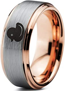 Rubber Ducky Duck Ring - Tungsten Band 8mm - Men - Women - 18k Rose Gold Step Bevel Edge - Yellow - Grey - Blue - Black - Brushed - Polished - Wedding - Gift Dome Flat