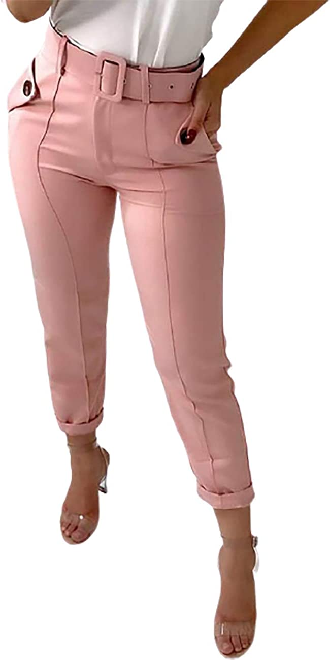 CHICME Women's Casual High Waist Buttoned Design Skinny Pants with Pockets