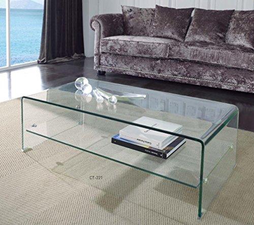 Dugar Home Mueble Auxiliar - Mesas de Centro Modernas - Cristal con Estante CT-221