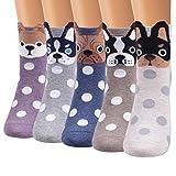 Ofeily Calcetines de mujer Algodón Casual Gracioso Lindo animal Estampado Calcetines Arte Miedoso Vistoso Dibujos animados Calcetines de regalo (ZYX-00103E)