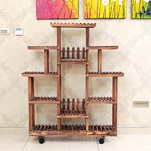 Étagère en bois massif Salon Étagère étagère à étages Étagère à fleurs Étagère étagère à étagères à étagères intérieures 113cm * 25cm * 125cm (Couleur : Pulley)