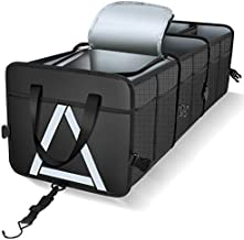 Knodel Sturdy Car Trunk Organizer with Premium Insulation Cooler Bag, Heavy Duty Collapsible Trunk Storage Organizer for Car, SUV, Truck, or Van (3 Compartments, Black)