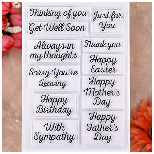KWELLAM Words Just for you Happy Easter Mother's Day Father's Day Get Well Soon Happy Birthday With Sympathy Clear Stamps for Card Making Decoration and DIY Scrapbooking