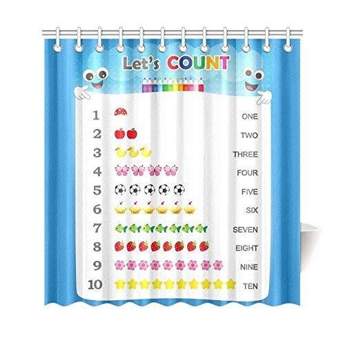 Sonernt Duschvorhang, Zahlen, Zählen, Praxis, pädagogischer Badvorhang, wasserdichter Stoff, Badezimmer-Dekor-Set mit Haken