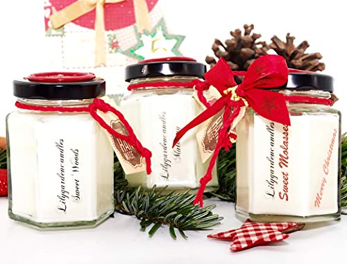 Lilygardencandles geurkaars in 3-delige set in de kerstgeur Sweet Woods, Sweet Molasses en Mulberry Sojawaskaarsen in Country House Jar kleine brandtijd 22 uur