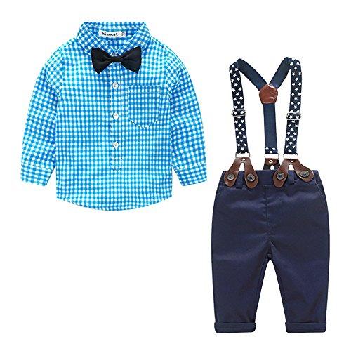 Herren Gentleman Kleidung, New Boy Langarm Karohemd, Latz Zweiteiliger Anzug (Material: Baumwolle)