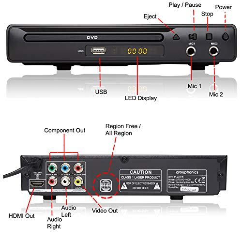 Grouptronics GTDVD-1000 Compact Multi-Region HDMI DVD Player, 1080 Upscaling, Karaoke DVD & CD-G Support, Connect Up To Two Karaoke Microphones & USB Playback – Remote Control Included