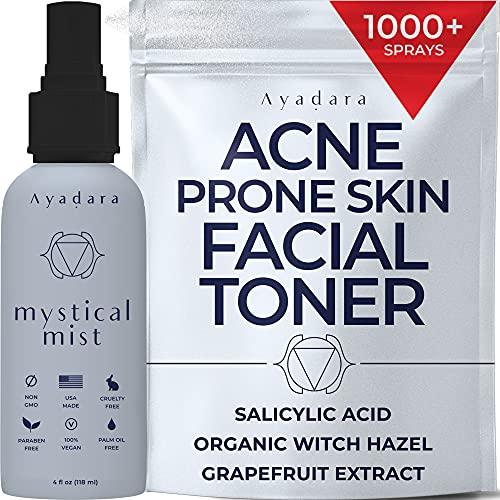 Ayadara Acne Prone Skin Facial Toner | 2% Salicylic Acid Spray for Cystic & Hormonal Acne | Witch Hazel Face Toning Treatment for Women & Men | Zit, Milia, & Pimple Eliminating Mist | 1000+ Sprays