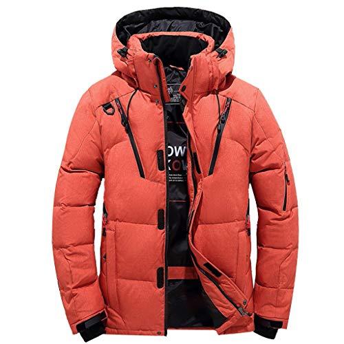 Xiart Abrigo de plumón para hombre, ligero, resistente al viento, forro cálido, chaqueta básica, chaqueta de entretiempo con cuello alto y bolsillo con cremallera., Z1*orange`, XXL