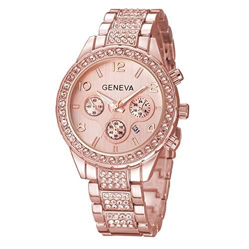 yuge Reloj de pulsera de acero inoxidable para mujer con diamantes de imitación de lujo, reloj de cuarzo casual, oro rosa