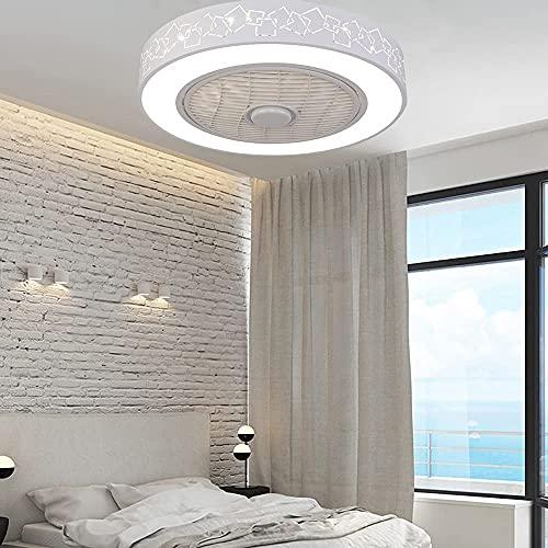 KLDDE Ventilador de Techo de 20 Pulgadas Control Remoto Moderno Hogar LED Lámpara de Techo Dimmable Dormitorio Lámpara de Dormitorio para Dormitorio para Dormitorio, Sala de Estar, Sala de Estudio