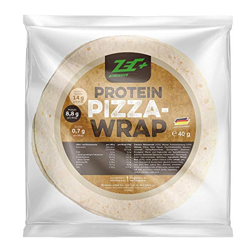 ZEC+ Protein-Pizza Wraps – 8 Protein-Wraps als fertiger Low-Carb Pizzaboden zum Selbstbelegen, ideal für eine proteinreiche Fitness-Pizza oder als Low-Carb Snack, 100% vegan, Made in Germany
