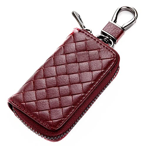 Cartera para llaves con llavero, cartera de cuero de moda para llaves de coche, monedero multifuncional con cremallera para hombres y mujeres
