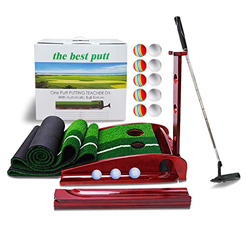 Solid Wood Golf Putting Green Kits with Auto Ball Return Function for Indoor Office Garden Game Mini Golf 2 Holes Training Aid with 10 Golf Balls and 1 Golf Clubs