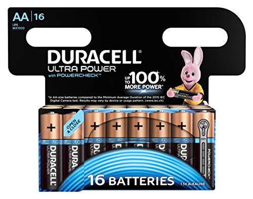 Duracell Ultra Power - Pilas alcalinas AA, paquete de 16 unidades, Empaque puede variar