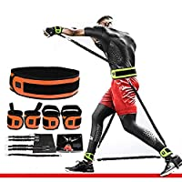ボクシングのレジスタンストレーニングバンド垂直跳びトレーナーボクシング、バスケットボール、サッカーのトレーナーのためのスピードと敏捷性のレジスタンスバンド,オレンジ色